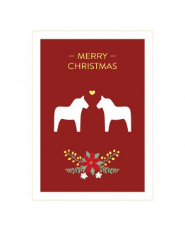 Merry Christmas Dala Horse Postcard