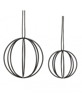 Ball w/wire metal black set of 2 7 & 10 cm