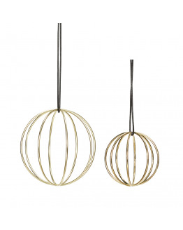 Ball w/wire metal gold set of 2 7 & 10 cm