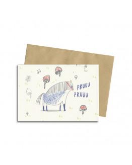 WHITE BLUE PONY CARD