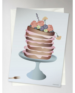 Cake With Flowers Greeting Card 15x21cm