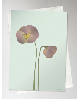 Pansy Mint Greeting Card 10,5x15cm