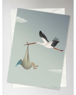 The Stork Blue Greeting Card 10,5x15cm