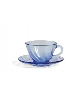 FRENCH COFFEE CUP WITH SAUCER BLUE