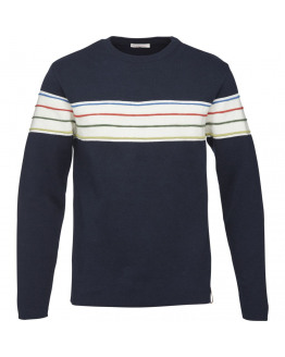 ROUND NECK KNIT W/CONTRAST STRIPES