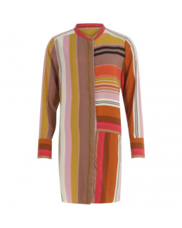 Long shirt in stripe print w. v-neck