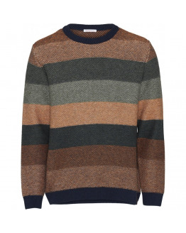 Multi colored striped o-neck knit - GOTS