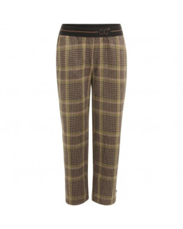 Pants in checked scuba w. CC logo waistband