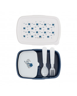 Superhero Lunch Box Plastic w/Cutlery Blue