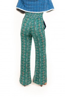 high-waisted full length trousers