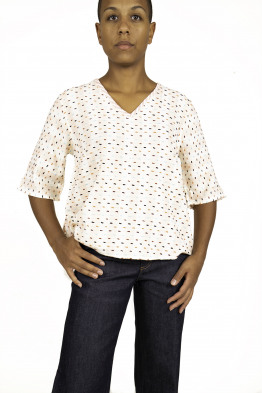 dotted v-neck top