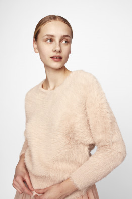 fuzzy v-back sweater