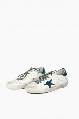 golden goose G32WS590.E53 white metal/blue star superstar sneaker