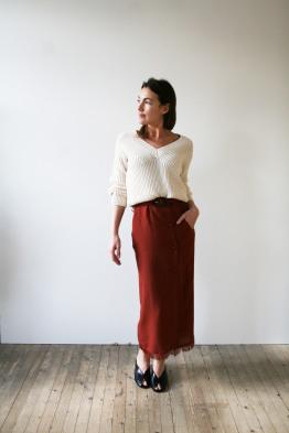 nanushka high waist skirt with fringed hem