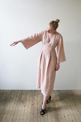 happy haus LA ROBE KIMONO linen dress