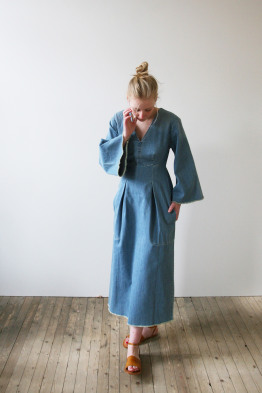 happy haus LA ROBE KIMONO denim dress