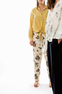 velvet trousers with scented garden print