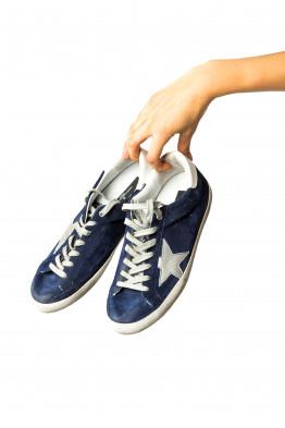 blue suède sneaker