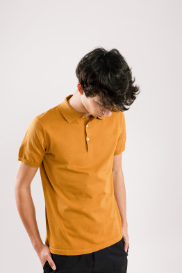 mustard knitted polo