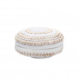 Bamboo Basket White with Cowrie Shells
