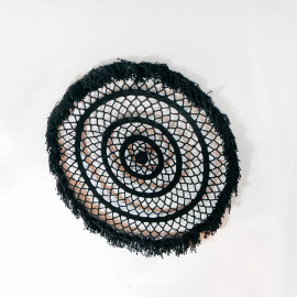 Wall Deco Mandala Macramé XL Black
