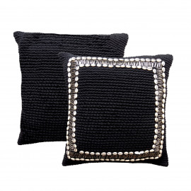Cushion Macrame Beaded Border 50x50