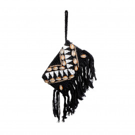 Clutch Macramé Beads-Shell Black