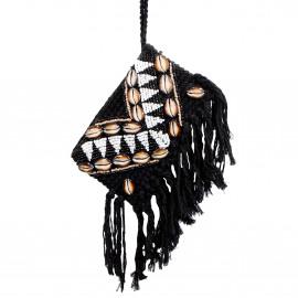 Clutch Macramé Beads-Shell Black