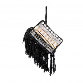 Clutch Macramé Beads-Shell-Silver Black