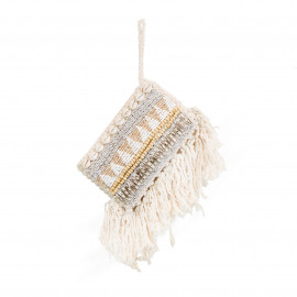 Clutch Macramé Beads-Shell-Silver Natural