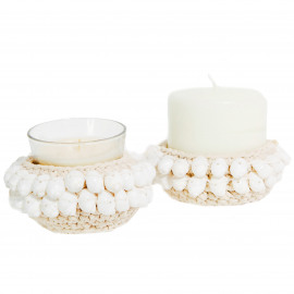 Candle Holder S Macrame-Kai Shell -White