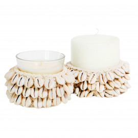 Candle Holder S Macrame-Cowrie Natural