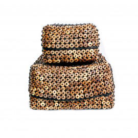 Basket Square Black with Coconut Shell