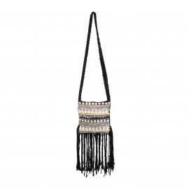 Boho Bag Macrame Fully Beaded Black