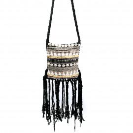 Boho Bag Macrame Fully Beaded Black
