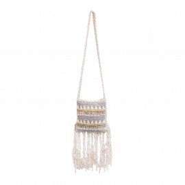Boho Bag Macrame Fully Beaded Natural