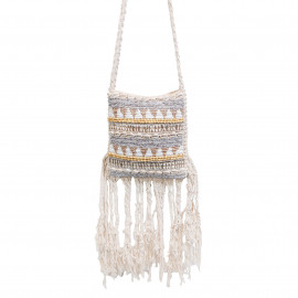Boho Bag Macrame Fully Beaded Natural