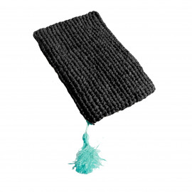 Raffia Clutch Black with zipper L