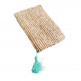 Raffia Clutch Natural with zipper L