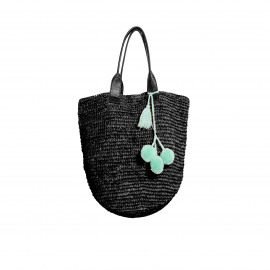 Raffia Shopper Black Long