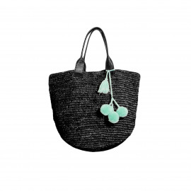 Raffia Shopper Black Short