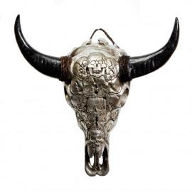 Buffalo Resin Skull Tengorak Silver