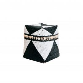 Beaded Basket High Cowrie Diamond Black-White