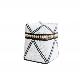 Beaded Basket High Cowrie Striped White-Black