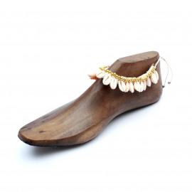 Anklet-Bracelet Macramé Shell White
