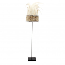 Hat Papua Feather White on Stand