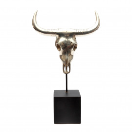Buffalo Head Brass-Silver on a Stand