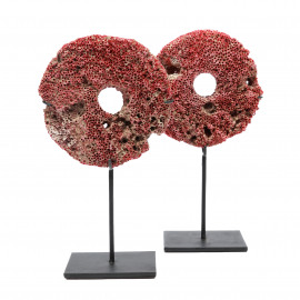 Coral Stone-Wheel Red on Stand