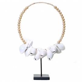 White Cowrie Shell Necklace Wood on Stand