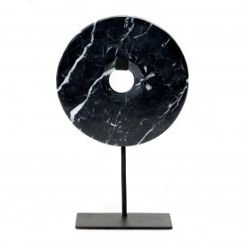 Disc Marble on Stand Black